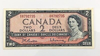 1954 Canada 2 Two Dollar OU Prefix Canadian Circulated Currency Banknote I387