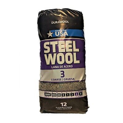 DuraWool Premium Steel Wool #3 Coarse - CASE of 72 Pads (six 12 pad bags)
