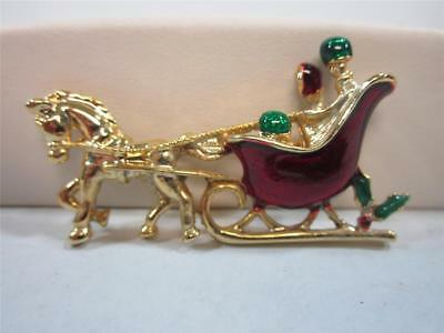 Christmas Pin Horse & Sleigh Enamel Brooch Gerry's Costume Jewelry