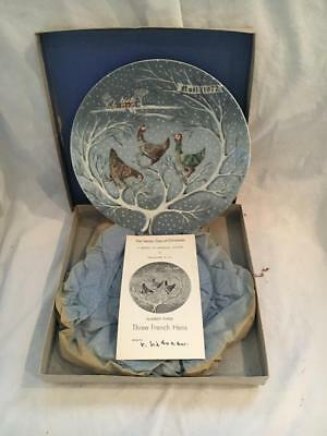 1972 HAVILAND LIMOGES 12 DAYS OF CHRISTMAS PLATE #3  w/Box