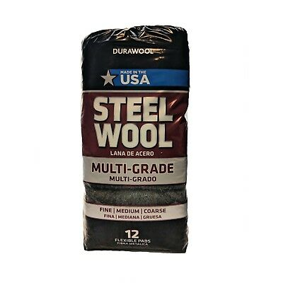 DuraWool Premium Steel Wool Assorted Grades - CASE of 72 Pads (six 12 pad bags)