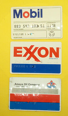 Exxon, Mobil, and Amoco Oil Company Vintage Collectors Credit Card (Set of 3)