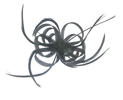 Black Loop and Feather Beak Clip Brooch Corsage Fascinator Bridal Accessories