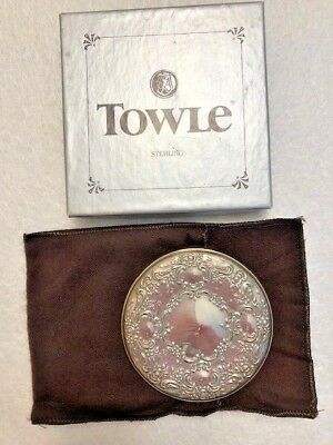 Vintage Towle Sterling Silver Repousse' Design Ladies Compact or Purse Mirror