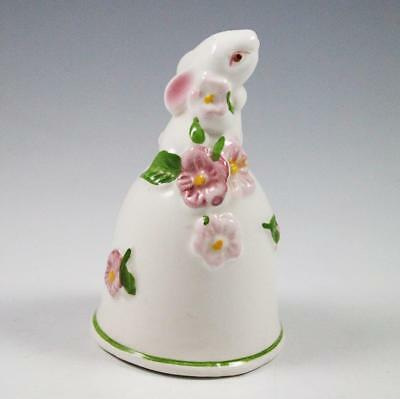Avon Porcelain Bunny Rabbit Bell with Flowers 1984 Weiss Brazil Hand Painted