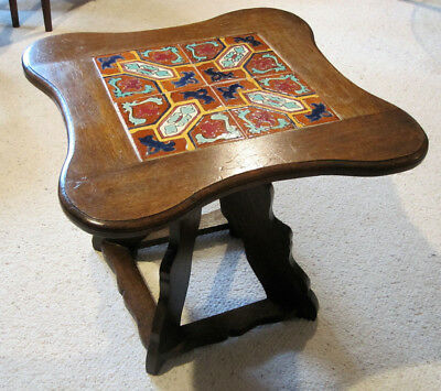 Arts & Crafts Catlina Tile Top Side Table Stand Tapered Scroll Cut Unique Base