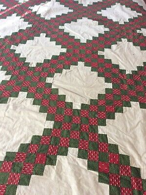 Antique 1880's Green Red 1 In Square Quilt Top