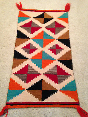 "Navajo Rug Gallup Throw Textile 38"" X 21"" Jw"
