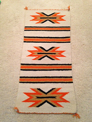 "Navajo Rug Gallup Throw Textile 34"" X 16"" Jw"