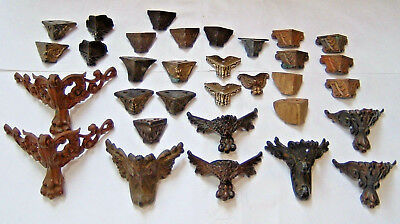 Large Mixed Lot Clock Case Feet Parts Repair Antique Vintage Claw Front Back