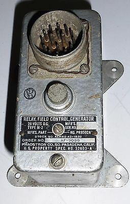 Relay Field Control Generator 28 volts DC type M2 PR9502A Air Force AF-9098 1942