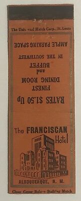 Vintage The FRANCISCAN Hotel, Albuquerque, N.M. Matchbook Cover