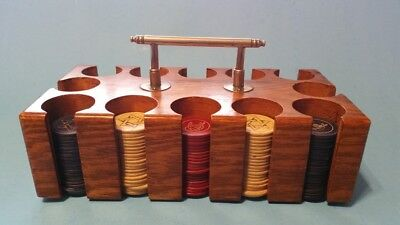 Vintage Poker Chips and Wooden Case 1940's-50's