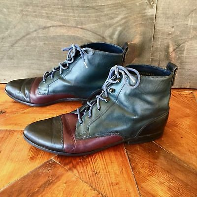 Dolcis Vtg 80s 90s Tri Color Granny Lace Up Ankle Boots Sz 9