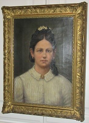 Antique Victorian EDWARDIAN American WOMAN Oil Portrait GOLD Frame c1900s