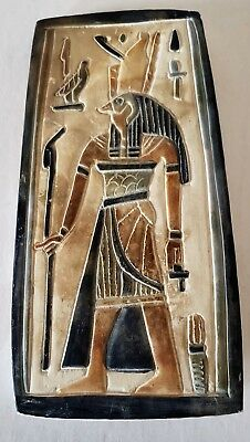 Unique  Hand Carved Egyptian display Plaque of Ancient anubis god