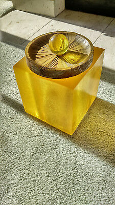 Vintage Cool Lucite Ice Bucket w/Lid - Luxurious Golden Color - Super Seal