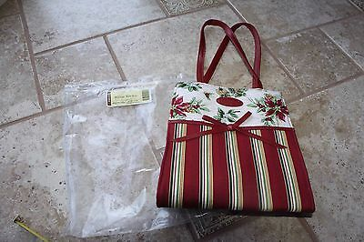 Longaberger Holiday Christmas Gift Bag Tote New burgundy floral fabric