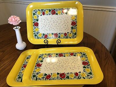 Vintage Metal Tin Serving Tray Lot of 3 yellow red green daffodils tullips