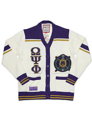 Omega Psi Phi Fraternity Cardigan Sweater Sobat Q Dog Purple Gold