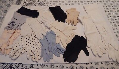 Vintage  Assorted 13 Pair Ladies Women's Gloves.  Cotton Nylon