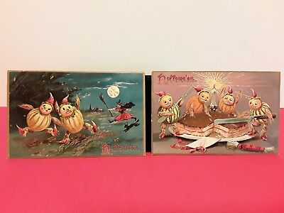 Pair of Halloween postcard ~ 1908 Tuck's series 150 embossed Goblins