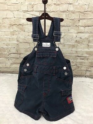 BABY GUESS Jeans Toddler 24 Months Navy Blue Bib Shorts Red Stitching