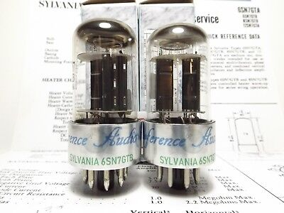 2- 6SN7GTB Sylvania Top Getter Vintage Audio Tubes *Certified Reference Grade