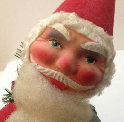 "Vtg Santa 14"" Bobblehead German Candy Flocked Hand Paint Tree Sack Cotton Beard"