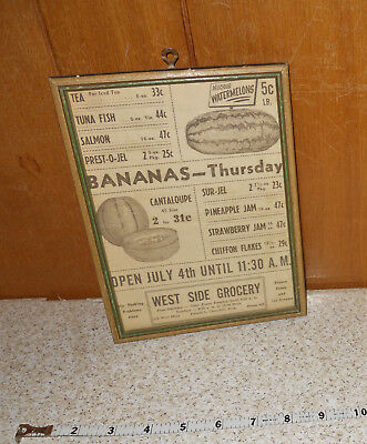 1945 Stoughton WI West Side Grocery Open July 4th Framed Ad Wall Decor Display