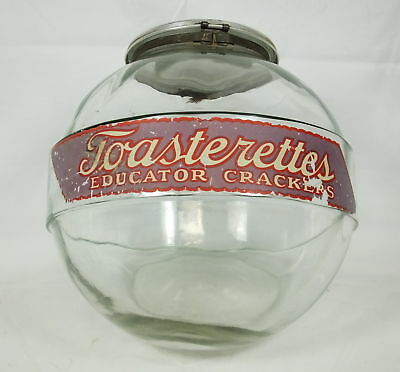 Dr. Johnson's Toasterettes Educator Crackers Glass Store Display Jar w/Lid RARE