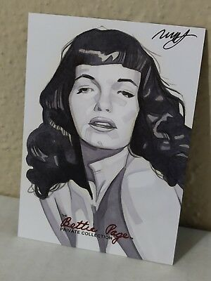BETTIE PAGE PRIVATE COLLECTION SKETCH CARD ROBERT HENRICKSON Pinup artist BETTY