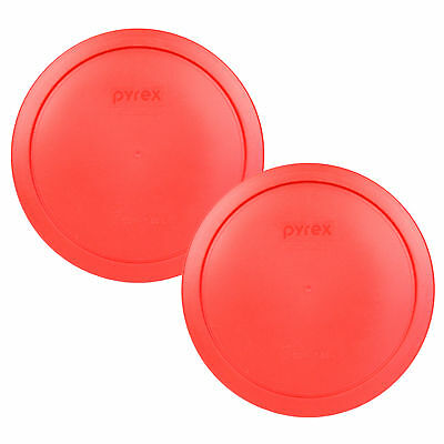 Pyrex 2 Pack Red Plastic Round 6/7 Cup Storage Lid Cover 7402-PC for Glass Bowl