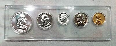 1955 P US Mint Silver Proof Set - With 90% Silver Franklin Half Dollar