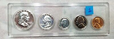 1956 P US Mint Silver Proof Set - With 90% Silver Franklin Half Dollar - Set #1