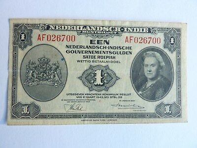 Orig. WW2 DUTCH INDIES 1 GULDEN BANKNOTE 1943 COLONIAL NOTE VET BRINGBACK