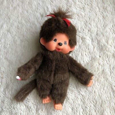 """Japan Girl Monchhichi Red Bow 8"""" Holding Baby Pacifier Plush Doll by SEKIGUCHI"""