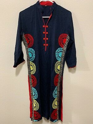 pakistani indian embroidery kurta/kurti Black