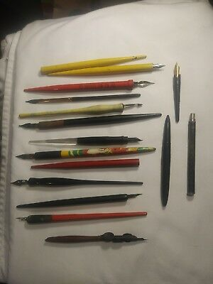 Lot of 16 Antique Vintage Wooden and Plastic Early Dip Ink Pens Instruments