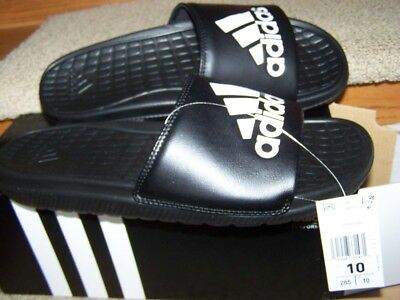 ADIDAS Voloomix Slides Mens SIZE 10 NEW IN BOX BLACK WHITE 3 STRIPE LOGO SO COMF