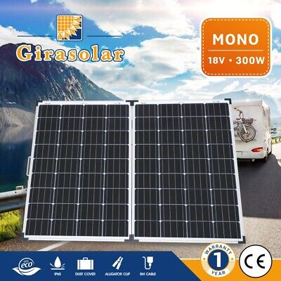 300W 12V Solar Panel Mono Caravan Camping Boat Power Charge Battery Folding Kit