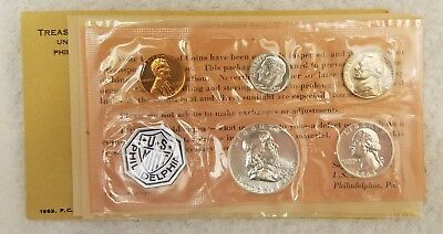 1963 P US Mint Silver Proof Set - With 90% Silver Franklin Half Dollar