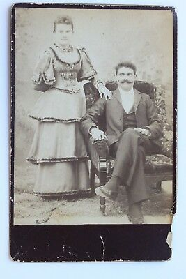Original Cabinet Card Photo YOUNG WELL DRESSED COUPLE, LONG MOUSTACHE, ca 1880s