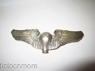 "Us Wwii Army Air Corps Balloon Pilot Sterling Silver 3"" Pilot Wings Usaaf Badge"