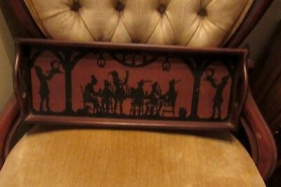 """Antique 17 1/2""""  LONG HANDLED, SILHOUETTE TRANSFERWARE, WOOD SERVING TRAY"""