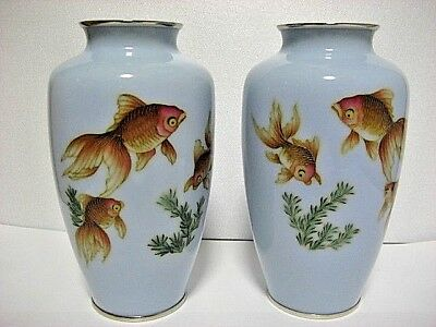Pair  of Japanese Cloisonne vases with golden Fish , very good codition