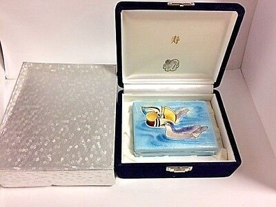 Japanese Cloisonne  box w/ Mandarin Ducks in original  box ,Aoki Metal