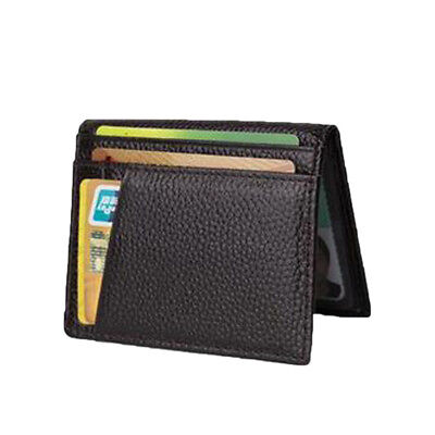 Brown Men Solid Genuine Leather Wallet Thin Credit Card Holder ID Case Purse Bag