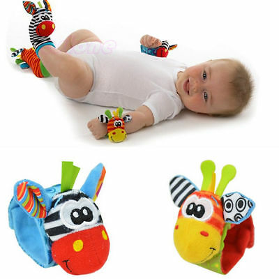 Multi shape Animal Toy Baby Infant Kids Hand Wrist Bells Foot Sock Rattles Hot