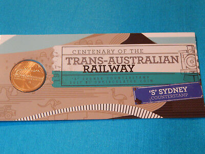 "2017 Centenary of The Trans Australian Railway ""S"" C/stamped $1 coin on a card"